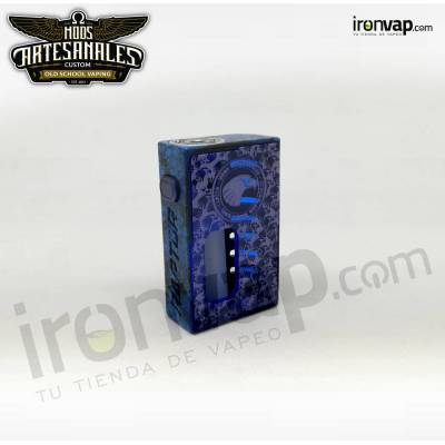 Raptor 18650 Distressed Puerta Full Engraved Blue Blood Brand - Mods Artesanales