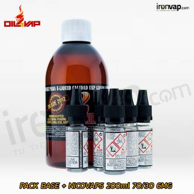 Pack Base y Nikovaps 30PG / 70VG 200ml 6mg TPD - Oil4Vap