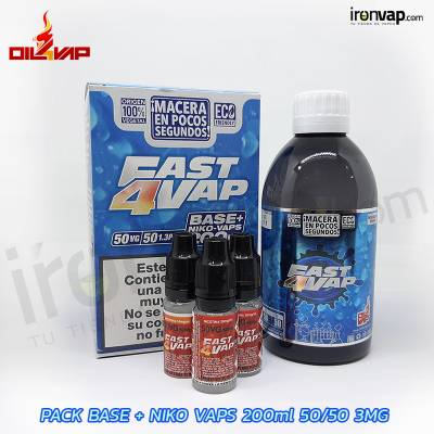 Pack Fast4vap 200ml 50PG / 50VG 3mg TPD - Oil4Vap