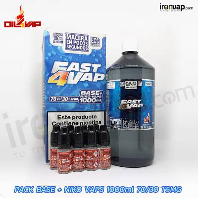 Pack Fast4vap 1000ml 30PG / 70VG 1.5mg TPD - Oil4Vap