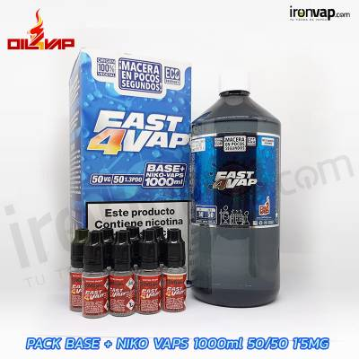 Pack Fast4vap 1000ml 50PG / 50VG 1.5mg TPD - Oil4Vap