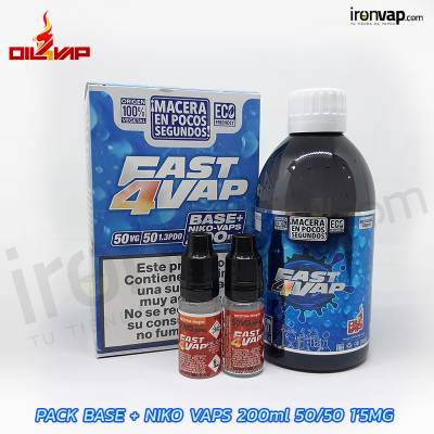 Pack Fast4vap 200ml 50PG / 50VG 1.5mg TPD - Oil4Vap